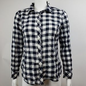 Talbots Petites Blue White Check Top Small SP